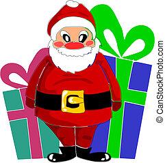 Happy santa claus and big gifts