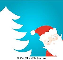 Happy Santa Claus and Christmas tree.