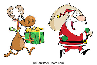 Happy Santa Claus And Reindeer - Elf Carrying A Christmas...