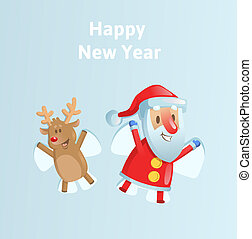 Happy Santa Claus and reindeer making a Snow Angel. Flat vector illustration on blue background.