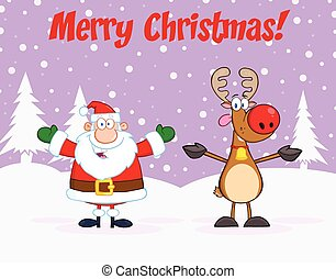 Happy Santa Claus And Reindeer