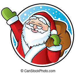Happy Santa Claus carrying a sack of Christmas presents