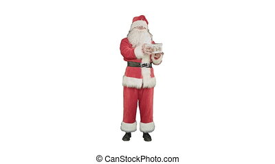Happy Santa Claus carrying gifts on white background
