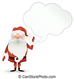 Happy Santa Claus character with a speech bubble for design banners, postcards, flyers and more. Illustration Merry Christmas .
