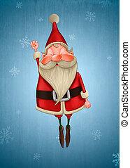 Happy Santa Claus flies on snow flake background