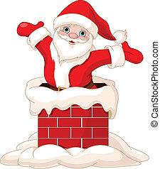 Happy Santa Claus jumping from chimney