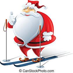 happy Santa Claus on ski