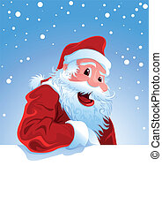 Happy Santa Claus over white blank