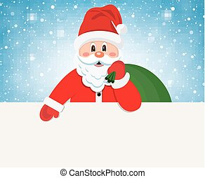Happy Santa Claus over white blank - Santa Claus Cartoon...