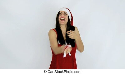 Happy santa claus play with balls