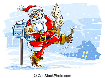 happy Santa Claus postman with Christmas letters - vector illustration