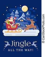 Happy Santa Claus riding in a sleigh drawn by reindeer across a snowy night winter village landscape. Christmas flat illustration card