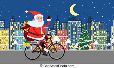Happy Santa Claus riding on a bicycle over the night city