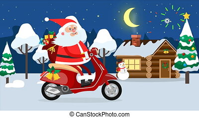 Happy Santa Claus riding on a moped across winter forest