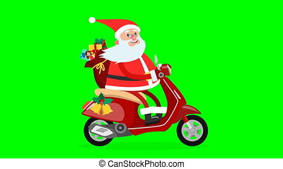 Happy Santa Claus riding on a moped