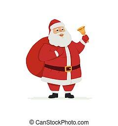 Happy Santa Claus ringing a bell - cartoon character illustration