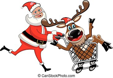 Happy Santa Claus running and pushing cart with reindeer...
