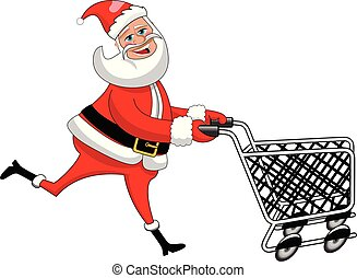 Happy Santa Claus running and pushing empty cart isolated