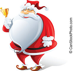 happy Santa Claus with bell