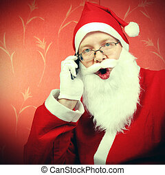 Happy Santa Claus with Cellphone