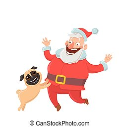 Happy Santa Claus with dog. Characters for new yearu0027s cards for year of the dog  sc 1 st  Can Stock Photo : jewish tent holiday - memphite.com