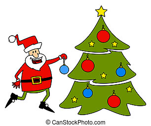 Happy Santa Claus with fir-tree.