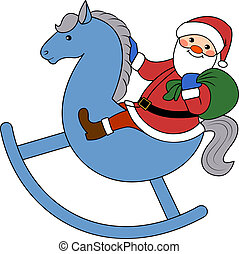 Happy Santa Claus with gift bag on horse