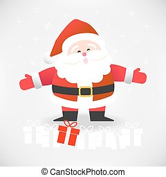 Happy Santa Claus with gift boxes vector illustration for Christmas