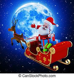 Santa Claus with his Sleigh.