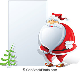 happy Santa Claus with paper