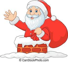 Happy Santa Claus with sack