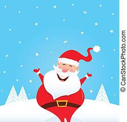 Happy Santa Claus with snow