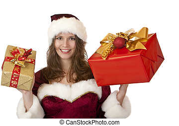 Happy Santa Claus woman holding Christmas gifts in hands