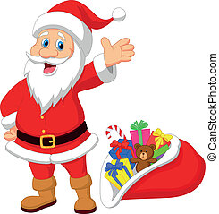 Happy Santa Clause cartoon with gif - Vector illustration of...