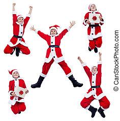 Happy santa costume boy jumping