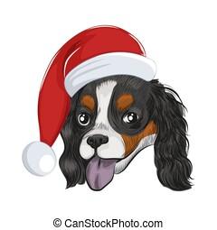 Happy Santa dog panting isolated on white background. -...