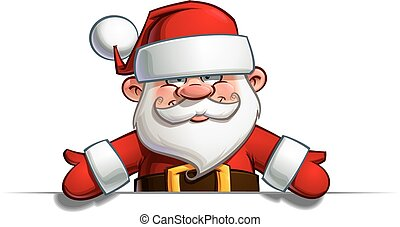Cartoon vector illustration of a happy Santa Claus showing with open hands towards a blank space.