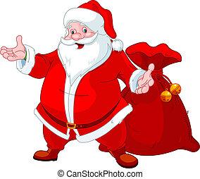 Happy Santa - Happy Santa Claus with sack of gifts