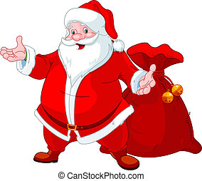 Happy Santa - Happy Santa Claus with sack of gifts
