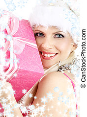 santa helper girl with pink gift box and snowflakes