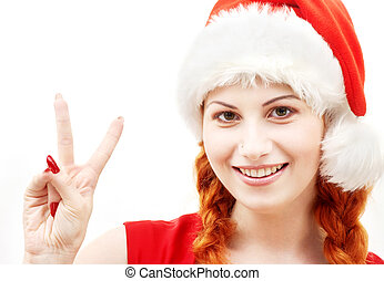 happy santa helper showing victory sign