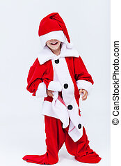 Happy santa helper trying on very large christmas costume