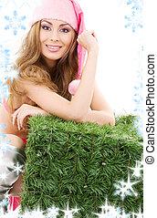 happy santa helper with green cube