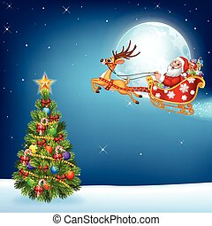Happy Santa in his Christmas sled