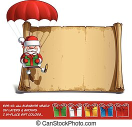 Happy Santa Scroll - Parachute Holding a Gifts