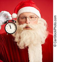 Santa with alarm clock