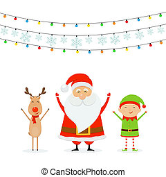 Happy Santa with Reindeer and Cute Elf with Christmas Lights and Snowflakes