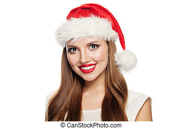 Happy Santa woman isolated on white background. Christmas and New Year concept
