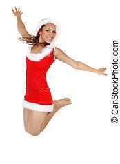 happy santa woman jumping