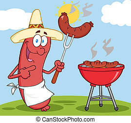 Happy Sausage With Mexican Hat Cook At Barbecue With ...